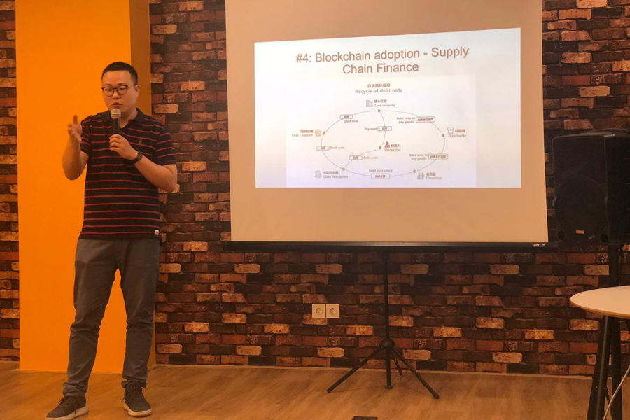 Our speaker from China, Mr.Jackie (Co-founder of Yuan Chain (YCC), Ecoin, Rcoin, Trip, and New Life (NLF)) shared about blockchain innovation in general way to audiences